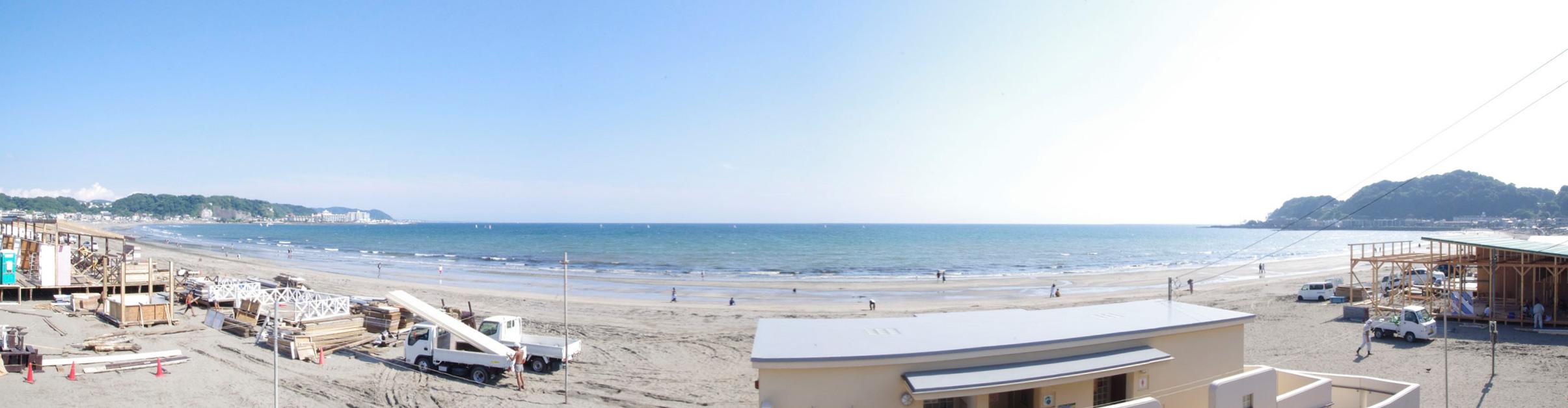 由比ヶ浜-砂浜_パノラマ
