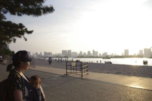 お台場 海浜公園 ビーチ 夕焼け