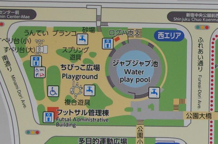 新宿中央公園 遊具マップ 西エリア