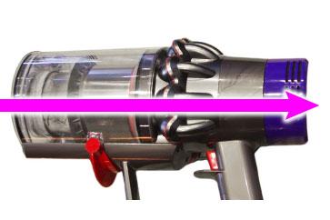 Dyson Cyclone V10の吸排気の流れ
