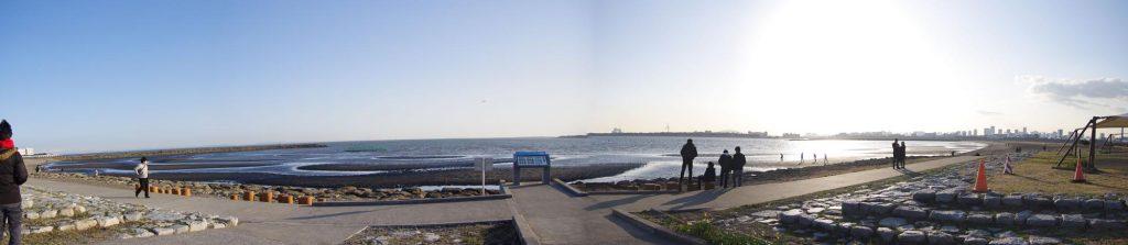 葛西臨海公園 砂浜 パノラマ